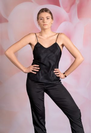 Black silk trouserslips and matching camisole top